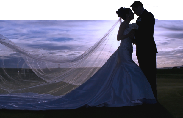As You Like It Wedding Veil Bride and Groom at twilight