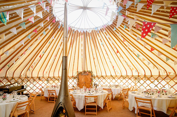 Beautiful yurts can provide a dramatic space for a wedding reception. Decorate with shabby chic or vintage props. | Confetti.co.uk