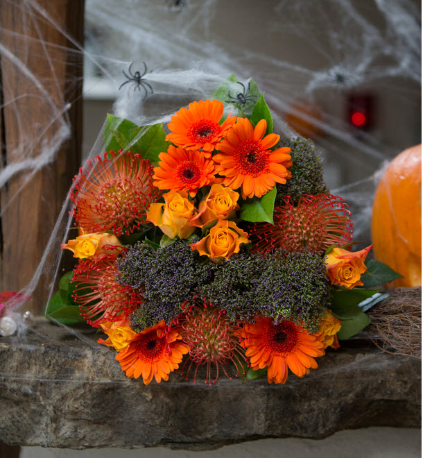 halloween theme gothic orange flowers