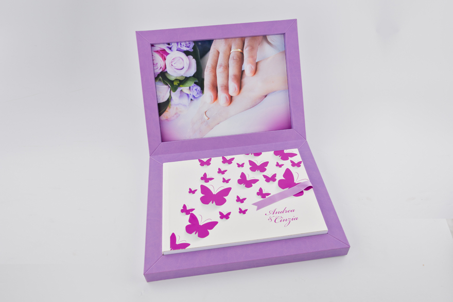 Open Butterfly Wedding Album Young Purple Book by Graphistudio | Confetti.co.uk