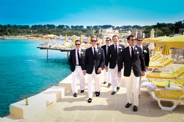 Groom and Ushers Walking Down The Harbour