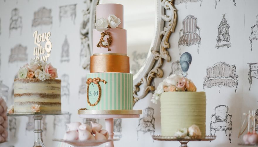 Colourful tiered wedding cake