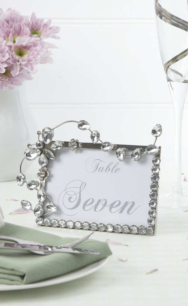 wedding table name card crystals