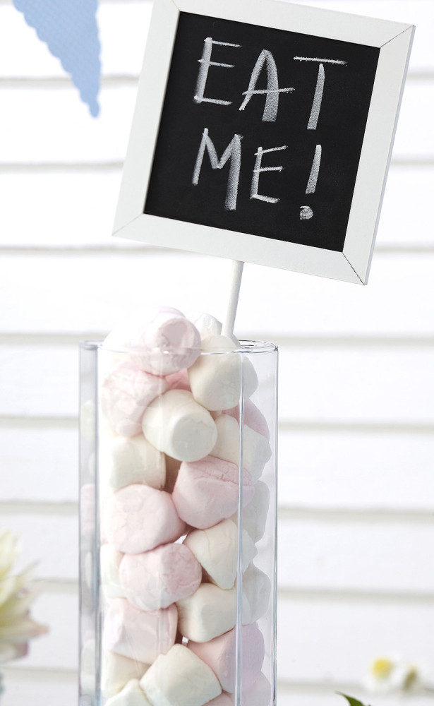 eat me wedding sign pink marshmellows