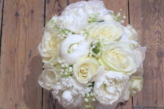 Flowers by Eve Norma Jean roses peonies lily of the valley bouquet
