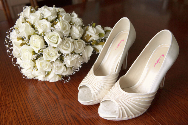 White Bridal Shoes & Bouquet
