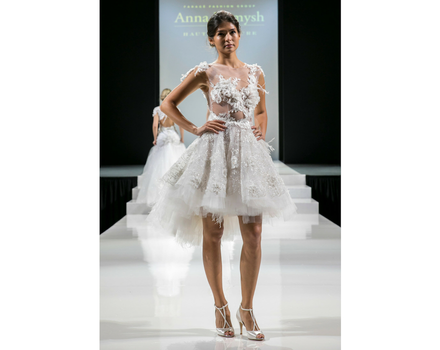 short wedding dress with feathers