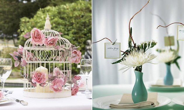 Wedding reception centrepiece birdcage and vases by Confetti