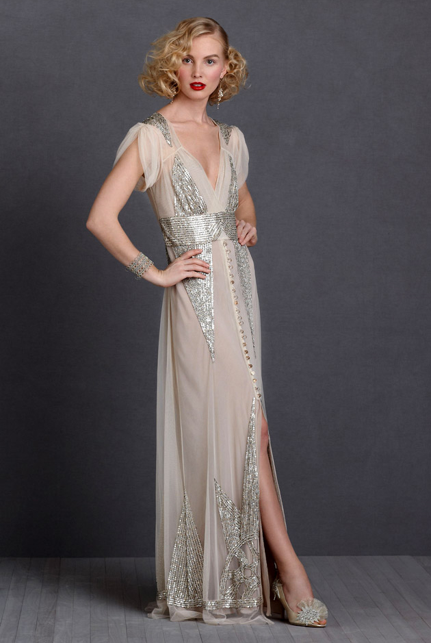 Lady modelling a Gatsby Shimmery 20s inspired wedding dress