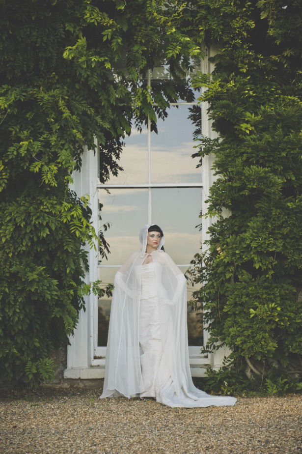 Halloween bride in wedding dress with hooded cape by Halo and Hobby