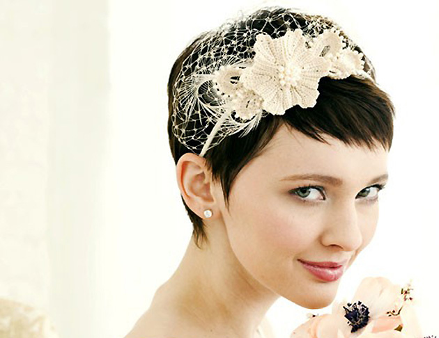 winter bride hair accessories wool flowers