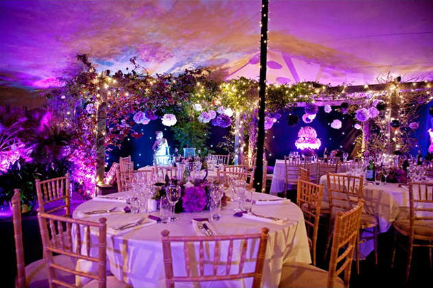 Foliage and flowers marquee decor by Complete Chillout Company