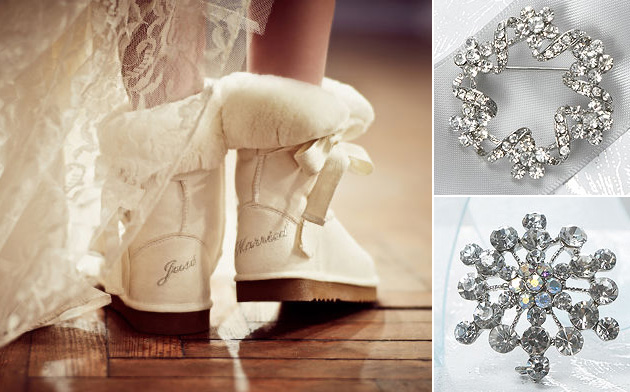 Shoes by Crystal Bridal Accessories, Brooches by Confetti