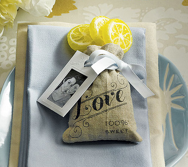 Mini Drawstring Linen Wedding Favour Pouch at the Confetti Shop
