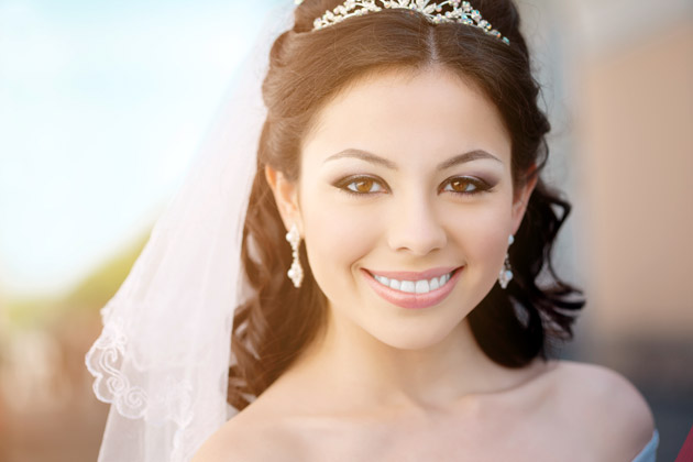 smiling bride wearing veil and jewelled tiara