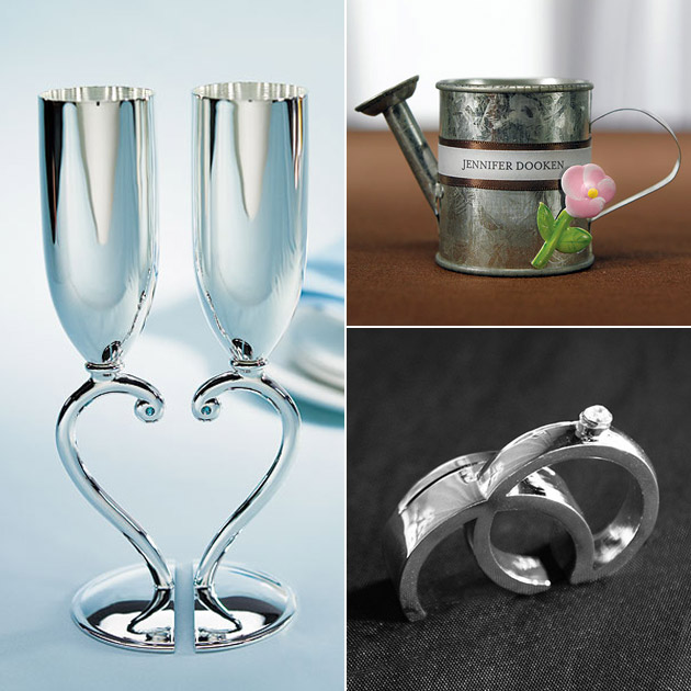 Silver Wedding Toasting Flutes Favours Place Card Holders