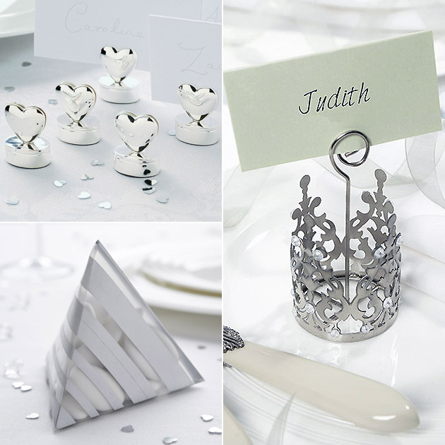 Silver Wedding Place Card Holders Favour Boxes