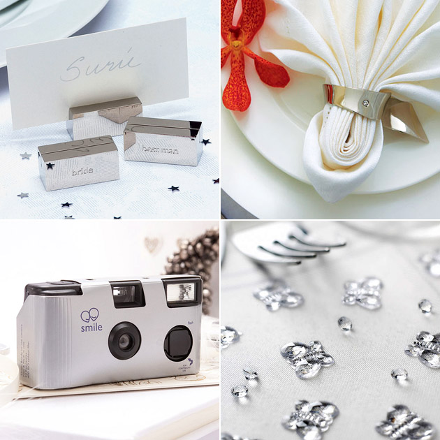 Silver Place Card Holders Napkin Rings Disposable Cameras Table Gems