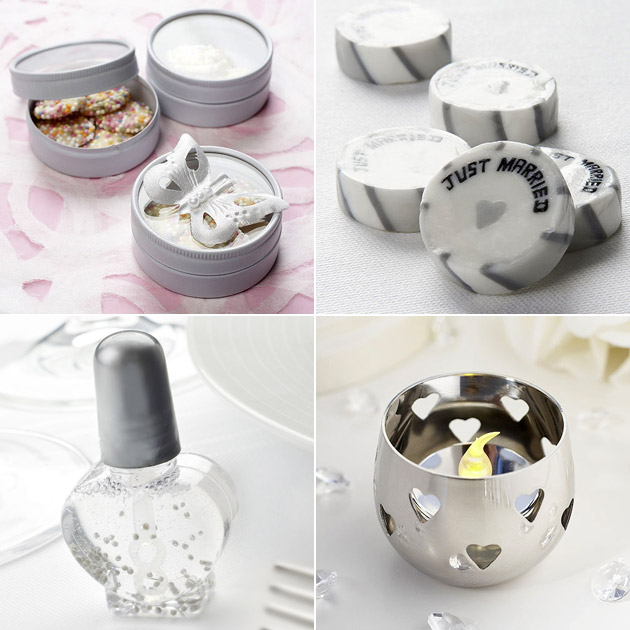 Silver Wedding Favour Boxes Rock Candy Candle Holders Bubbles