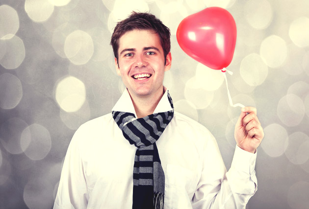 Valentine's Day Boyfriend With Red Heart Balloon