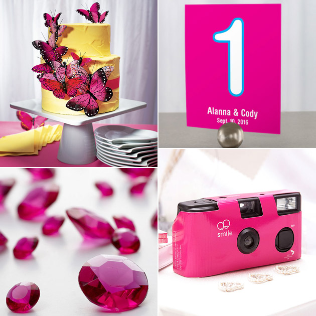 Bright Pink Butterflies Table Numbers Table Gems Disposable Cameras