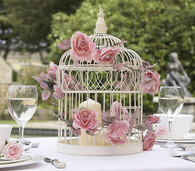 Wedding Centrepiece Large Birdcage With Flowers