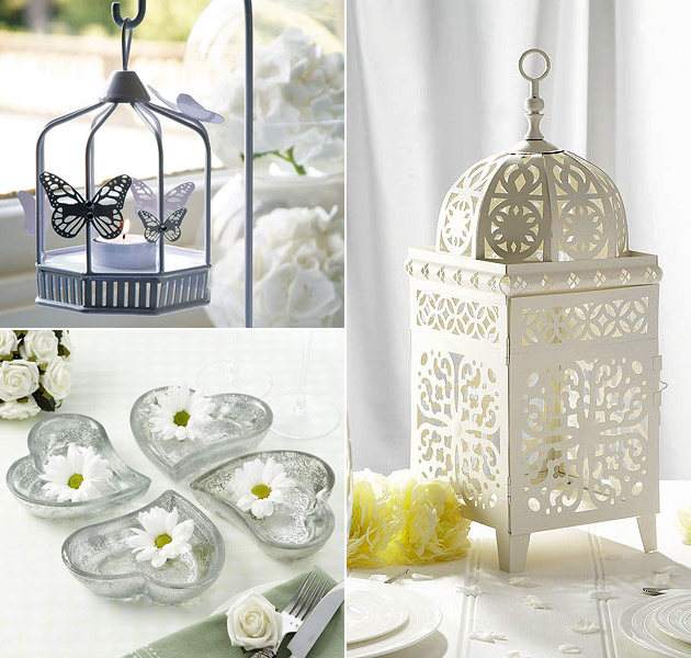 Wedding Reception Lanterns & Heart Dishes