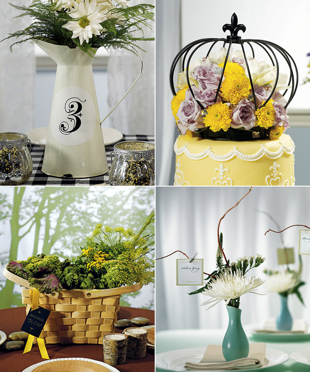 Centrepiece Metal Jug Crown Mini Vases & Picnic Basket