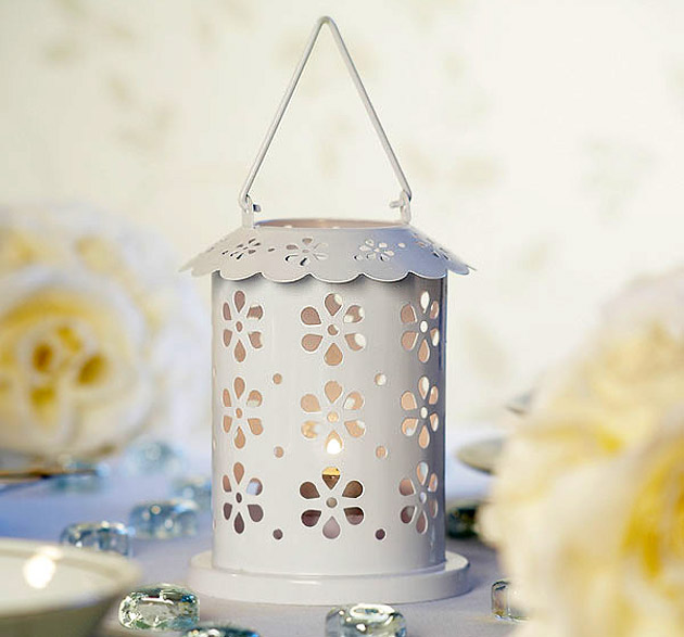 White Broderie Anglaise Table Lantern