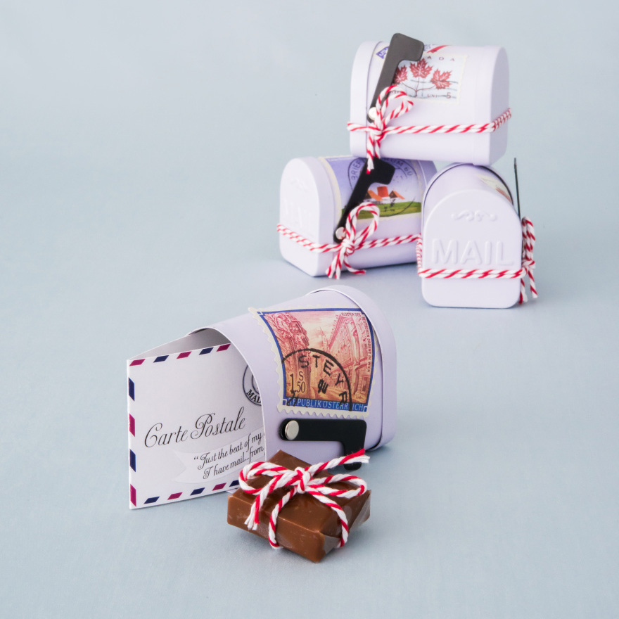 Small White Tin Mailbox Favour Container - Mail Box Wedding Favour Ideas - Chocolate Wedding Favour Ideas | Confetti.co.uk