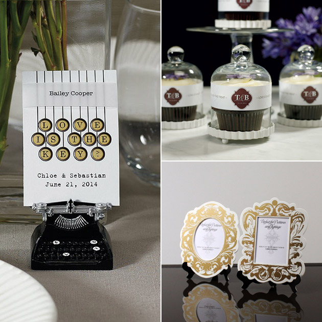 Vintage Typewriter Card Holder Glass Favour Containers Vintage Style Photo Frames