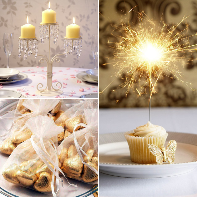 Crystal Ivory Candelabra Cupcake Sparklers Ivory Organza Bags