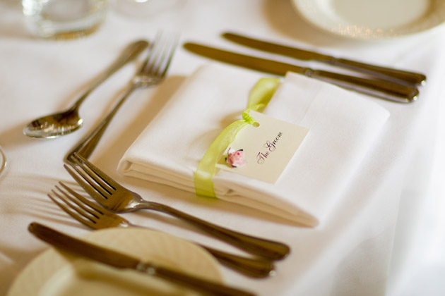 Sage Green And Pink Rose Groom Place Card Wedding Reception