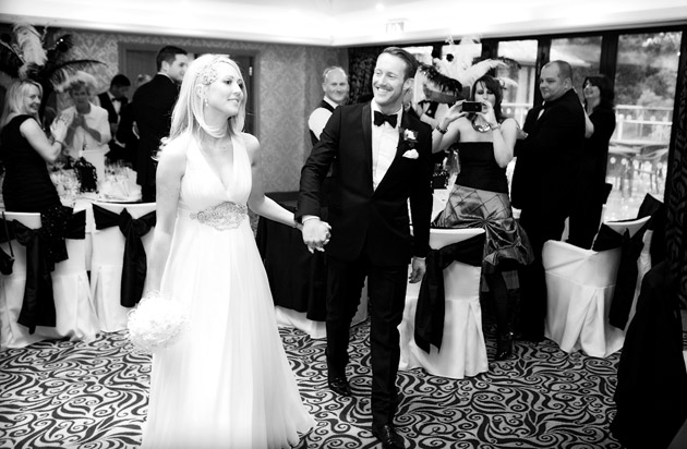 Bride and Groom Arrive At Reception