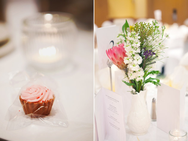 Wedding Reception Pink Muffin And Flowers