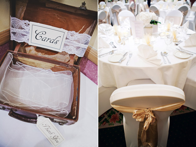 Wedding Reception Card Box In Suitcase And White Table Decor