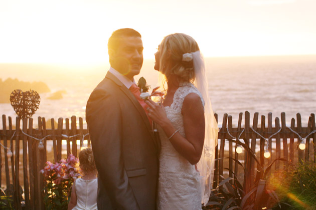 Bride and Groom and an ocean sunset