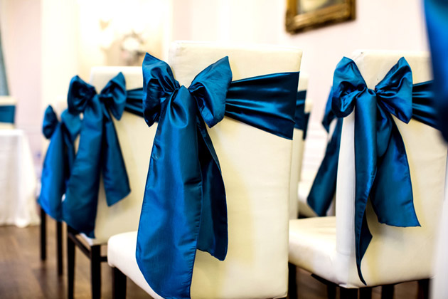 Ceremony Room Teal Chair Sashes