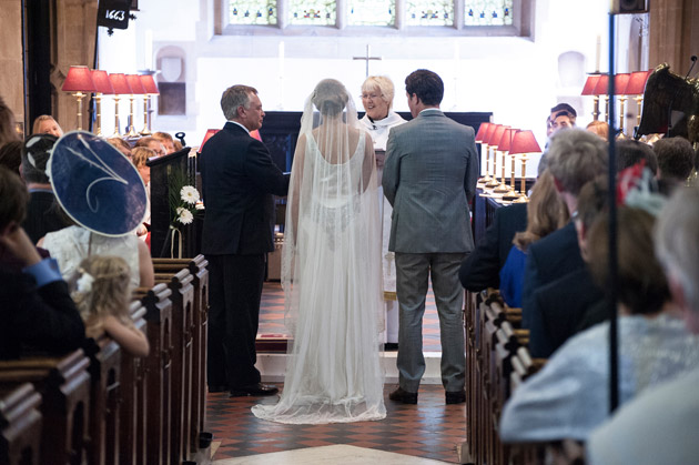 Bride and Groom Meet at the Altar