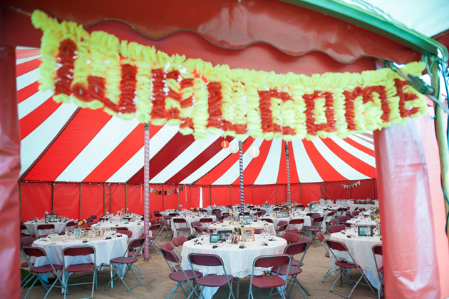 Welcome Sign at Wedding Marquee