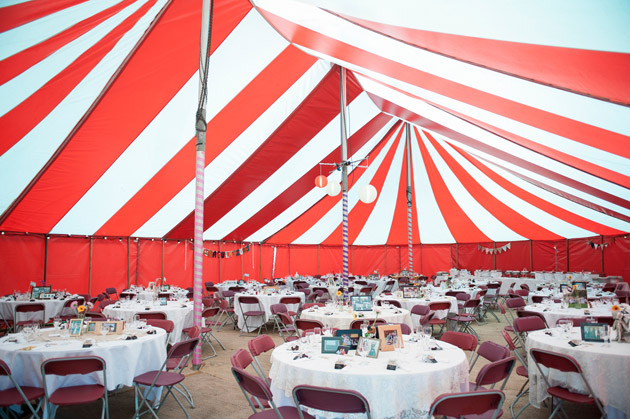 Inside Red and White Wedding Marquee