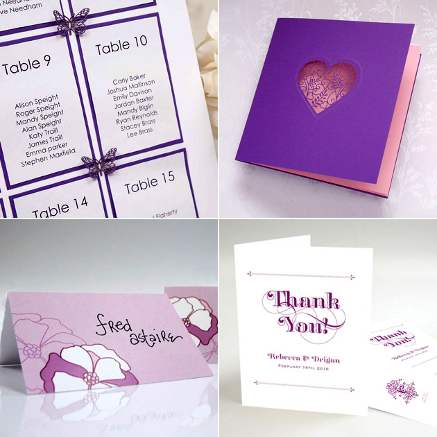 Purple DIY Wedding Table Plan, Invitation and Stationery | Confetti.co.uk