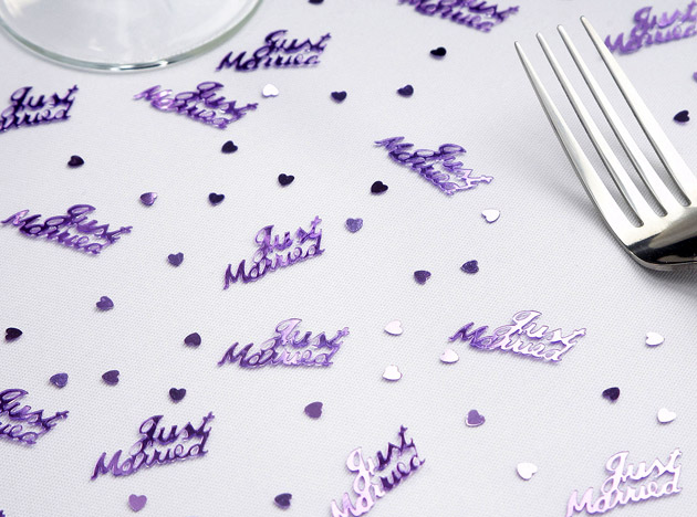 Just Married Shaped Metallic Confetti Pack