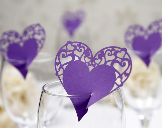 Lasercut Heart Place Cards for Glasses