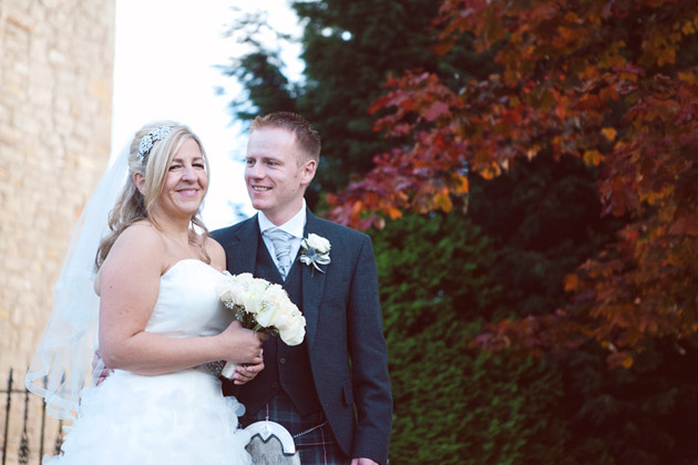 Bride and Groom Outside