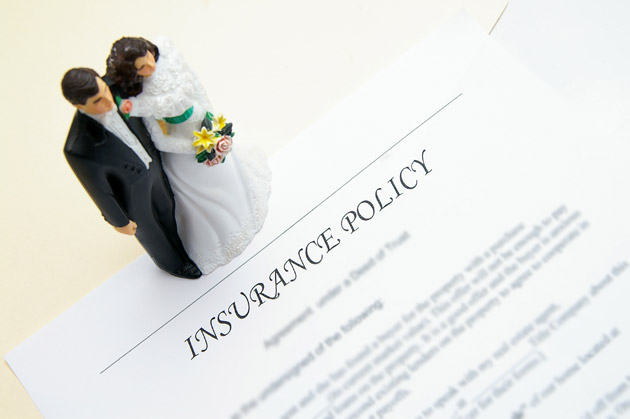 Bride and Groom Figures and Insurance Policy