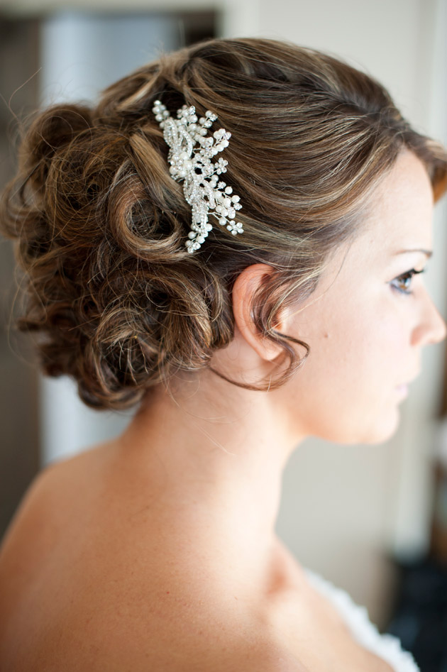 Bride's Hairstyle with Pearl Pin
