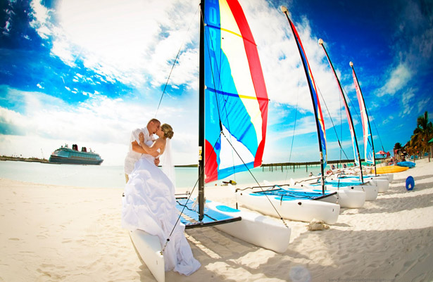 Bride and groom on a cruise