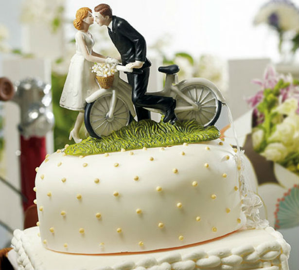 Bride and Groom Bicycle Cake Topper Confetti
