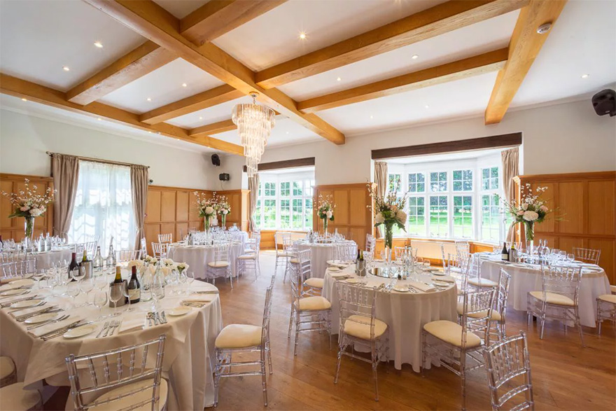 Countryside Wedding Venues - Bijou Wedding Venue in Berkshire - Luxury Wedding Reception Set Up at Silchester House - Silchester House Music Room Set Up for a Wedding Reception | Confetti.co.uk